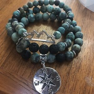 Hand made African turquoise and lava stone stack